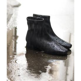 生活防水!晴雨兼用レイン。スクエアトゥローヒールショートブーツ (ブラック)