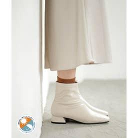 生活防水!晴雨兼用レイン。スクエアトゥローヒールショートブーツ (アイボリー)
