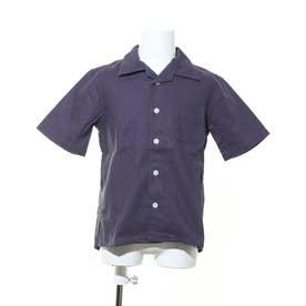 オープンカラー半袖ポケット付きシャツ (ネイビー)
