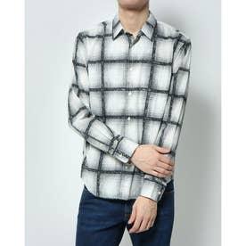 チェックプリント 長袖レギュラーシャツ (グレー)