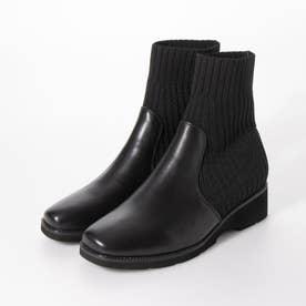 ストレッチニットショートブーツ (ブラック)