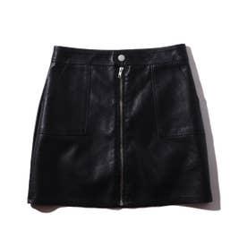 フェイクレザー ミニスカート T (BLACK)