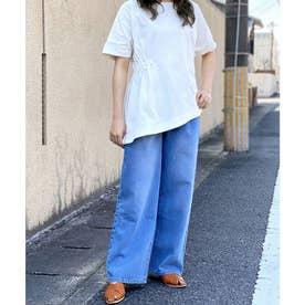 Emma(エマ)アシンメトリープルオーバーシャーリング Tシャツ (ホワイト)