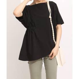 Emma(エマ)アシンメトリープルオーバーシャーリング Tシャツ (ブラック)