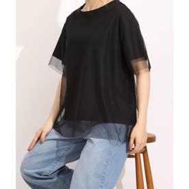 【nod(ノッド)】チュール付きTシャツ (ブラック)