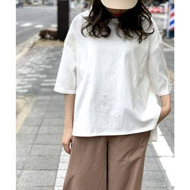 【nod(ノッド)】袖サテン切り替えTシャツ (オフ)