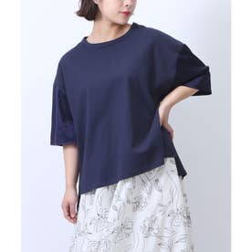 【nod(ノッド)】袖サテン切り替えTシャツ (ネイビー)