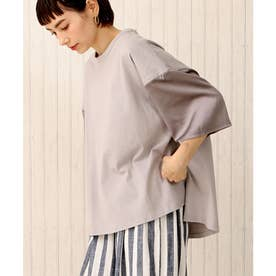 【nod(ノッド)】袖サテン切り替えTシャツ (ライトグレー)