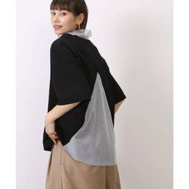 【nod(ノッド)】チュール切り替えフレアTシャツ (ブラック)