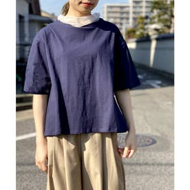 【nod(ノッド)】チュール切り替えフレアTシャツ (ネイビー)