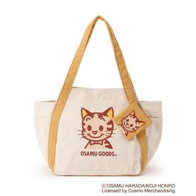 【コラボ】OSAMU GOODS バルーントートバッグ(ミニポーチ付き) (イエロー/キャット)