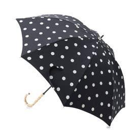 because 晴雨兼用バンブーハンドルドット傘(長傘) (ブラック)