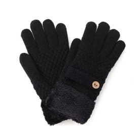 ニットベルト付き裏モール五指手袋 (ブラック)