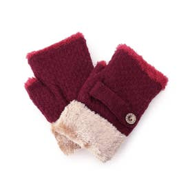 ニットベルト付き裏モールフィンガーレス手袋 (ワインレッド)