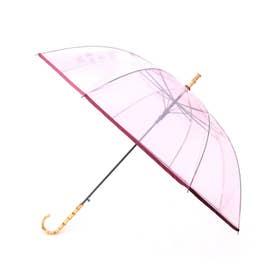 【Wpc.】バンブーハンドルビニール傘 長傘 (ピンク)