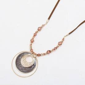 トリプル月の輪ネックレス (ダークブラウン)