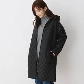 【M-LL】ダイヤキルトフーデットコート (ブラック)