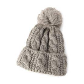ボンボンモヘアニット帽 (グレー)