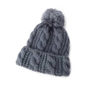 ボンボンモヘアニット帽 (ライトブルー(091))