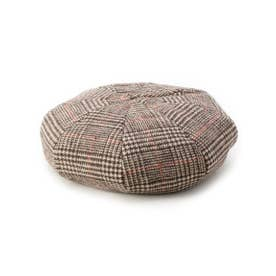 リバ-シブルボアベレー帽 (チェックブラウン)