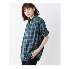 【M-L/2点セット】裾ねじりスキッパーシャツ+タンクトップ (ダークグリーン(223))