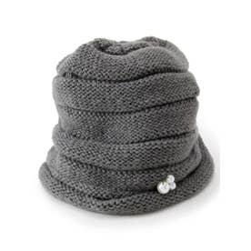 フェイクパール付きニット帽 (グレー(012))