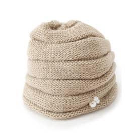 フェイクパール付きニット帽 (ベージュ(052))