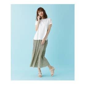 【M-LL/2点セット】ワッフルTシャツ+プリーツスカート (オフホワイト)