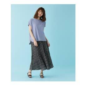 【M-LL/2点セット】ワッフルTシャツ+プリーツスカート (ライトブルー)