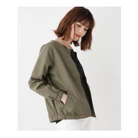【M-L】タスランノーカラージャケット (オリーブグリーン(026))
