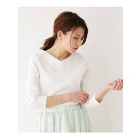 【M-L】Vネックスーピマコットン混カットソー (オフホワイト(003))