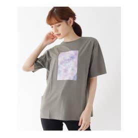 【M-L】カラーフォトプリントTシャツ (チャコールグレー(114))