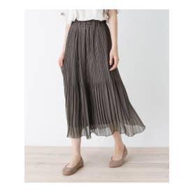 【フリーサイズ】シフォンアコーディオンプリーツロングスカート (チャコールグレー(014))