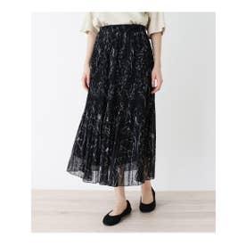 【フリーサイズ】シフォンアコーディオンプリーツロングスカート (ブラック(719))