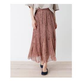 【フリーサイズ】シフォンアコーディオンプリーツロングスカート (ピンク(772))