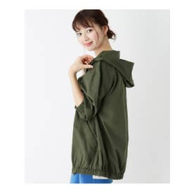 【M-3L】フルジップフーデッドジャケット (オリーブグリーン(026))