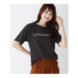 【M-L】プリントクルーネックゆるTシャツ (ディープグレー(015))