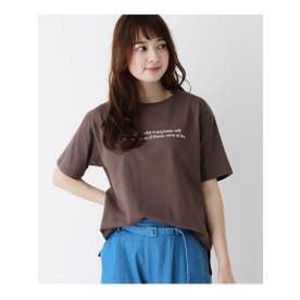 【M-L】プリントクルーネックゆるTシャツ (ダークブラウン(043))