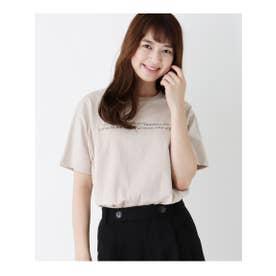 【M-L】プリントクルーネックゆるTシャツ (ライトベージュ(051))