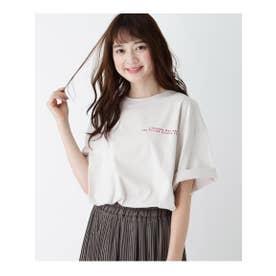 【M-LL】ドロップショルダー五分袖Tシャツ (アイボリー)
