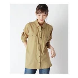 【M-3L】なめらかタッチ胸ポケットシャツ「デリシャツ」 (ベージュ)
