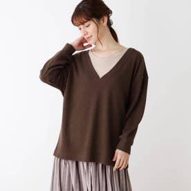 【M-LL/2点セット】ワッフル深Vネックプルオーバー+長袖Tシャツ (ダークブラウン)