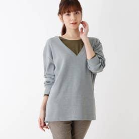 【M-LL/2点セット】ワッフル深Vネックプルオーバー+長袖Tシャツ (グレー)