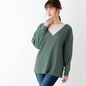 【M-LL/2点セット】ワッフル深Vネックプルオーバー+長袖Tシャツ (グリーン)