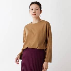 【M-L/洗濯機で洗えて毛玉になりにくい】コットンロングTシャツ (ブラウン)