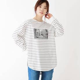【M-LL】空紡糸シャツテールロゴTシャツ (オフホワイト)