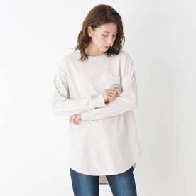 【M-LL】ラウンドヘムグラフィックロングTシャツ (アイボリー)