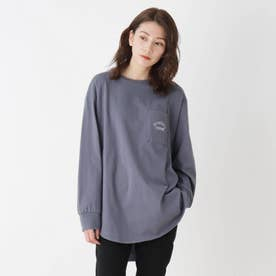 【M-LL】ラウンドヘムグラフィックロングTシャツ (ブルー)
