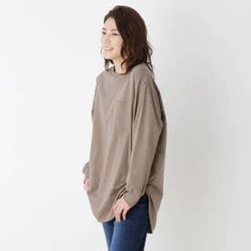 【M-LL】ラウンドヘムグラフィックロングTシャツ (タバコブラウン)