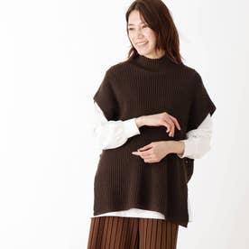 【M-LL/2点セット】片畔モックネックベスト+長袖Tシャツ (ダークブラウン)